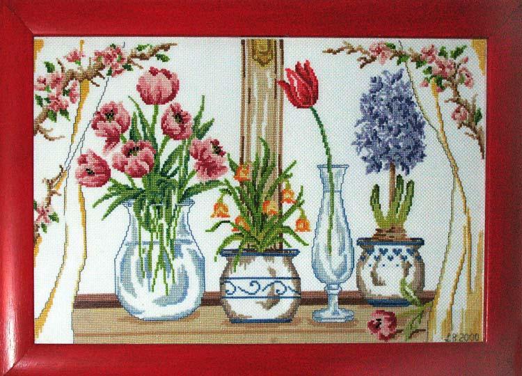 Finestra con vasi di fiori for Finestra con fiori disegno